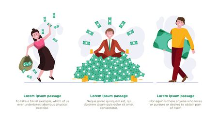 People getting profit set. Heap of money, sack with cash, stack of banknotes flat vector illustration. Finance business success, investment concept for banner, website design or landing web page