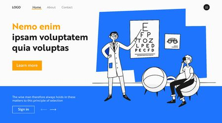 Young man examining eyesight. Patient visiting ophthalmologist office flat vector illustration. Examination, clinic, eye care concept for banner, website design or landing web page Ilustracja