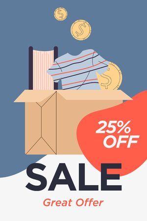 Cardboard box with book, clothes, money. Sale text, order delivery, payment flat vector illustration. Garage sale, market, second hand, clearance concept for banner, website design or landing web page