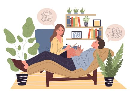 Patient counseling with psychologist vector illustration