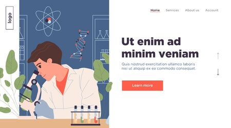 Chemist with microscope analyzing probes. Scientist in white coat, medical test flat vector illustration. Biochemistry, medicine, laboratory concept for banner, website design or landing web page