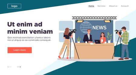 TV news studio Illustration