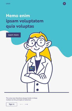 Female doctor in white coat and big glasses Ilustracja