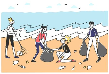 Young volunteers sorting litter on beach. People with rakes and plastic bags collecting trash at sea or ocean. Vector illustration for voluntary, environment, pollution