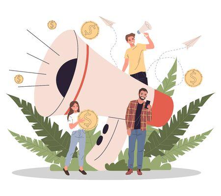 Business speaker shouting on megaphone vector illustration 일러스트