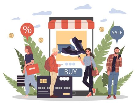 People shopping goods online using mobile application