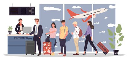 Line of passengers at airport registration desk. Queue of travelers waiting for check in to their flight. Vector illustration for travel, vacation, departure, boarding concept Reklamní fotografie - 139909939