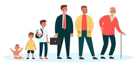 Male cartoon characters of different generation Vector Illustration