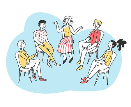 Patients discussing their psychological or addiction problem Vektorové ilustrace