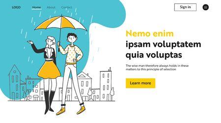 Couple walking in rain Ilustração