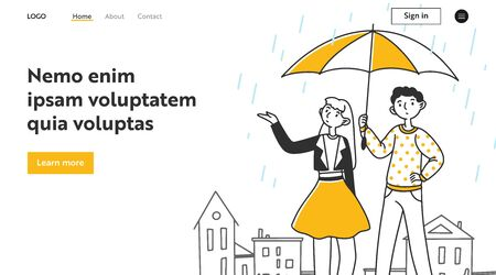 Young couple dating outside in rain. Man and woman walking, holding umbrella, parasol flat vector illustration. Weather, protection, climate concept for banner, website design or landing web page 일러스트
