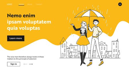 Girl and guy walking in rain. Dating couple holding umbrella, parasol flat vector illustration. Weather, protection, climate concept for banner, website design or landing web page