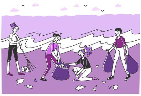 Young volunteers sorting litter on beach Ilustração