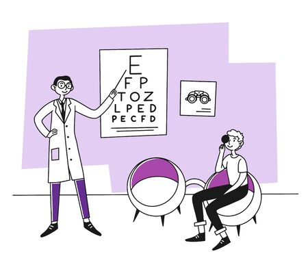 Patient visiting ophthalmologist