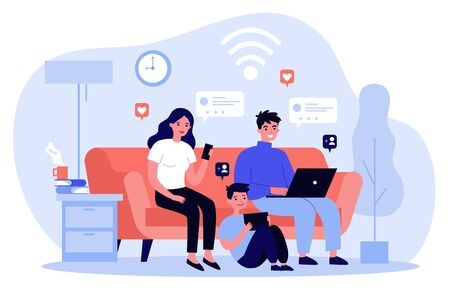 Family suffering from social media addiction. Parent and child sitting together at home and using digital devices. Vector illustration for problem, communication, internet concept Vettoriali