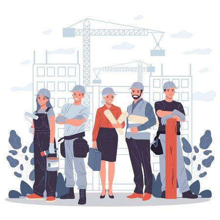 Builders, architect, engineer, foreman