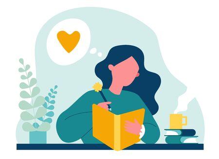 Teenage girl writing diary or journal Vetores