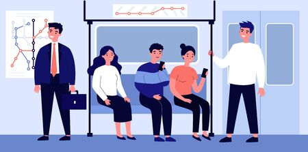 Passengers travelling by underground flat vector illustration