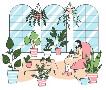 Woman holding plant in pot flat vector illustration. Cute lady relaxing in cozy room with houseplant. Garden, hobby and botanical concept