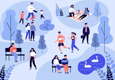 People walking in park, jogging and eating at picnic flat vector illustration. Family playing with dog. Couple sitting at bench near pond and looking at swans. Summer and leisure concept