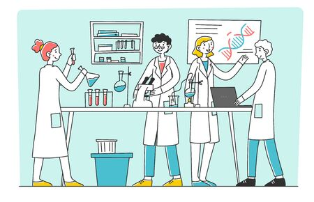 Lab scientist conducting research work flat vector illustration. Medical student doing tests and mixing chemicals at laboratory scene. Science, chemistry and medicine concept