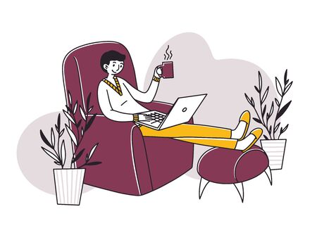 Relaxed freelance employee drinking coffee Vecteurs