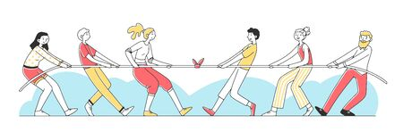 Two groups of people pulling rope flat vector illustration