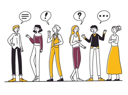 Group of people talking to each other Ilustración de vector