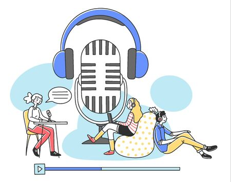 People listening radio podcast online flat vector illustration. Speaker sitting and talking to microphone and listeners listening via headset. Broadcasting and technology concept Vektorgrafik