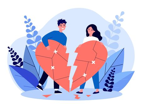Smiling couple restoring broken heart flat vector illustration. Happy man and woman solving problems and returning their love. Relationship and romance concept.