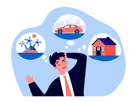 Young man thinking about new house, car and trip flat vector illustration. Businessman dreaming for material benefits. Wealth, business and abundance concept.