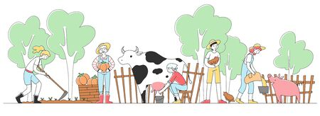 Happy people farming at countryside flat vector illustration