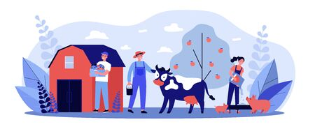 Farm workers caring animals and vegetable garden flat vector illustration. People feeding pigs and cow, growing natural food at countryside. Agriculture and farming concept. Ilustração