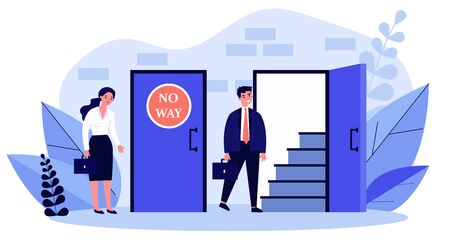 Woman standing near closed door and man going into open one flat vector illustration. Social inequality making obstacles for work and business growth. Social problem and woman discrimination concept