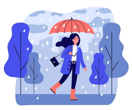 Happy smiling girl with umbrella walking in rainy day