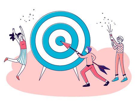 Business team achieving goal Vector Illustration