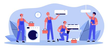 Happy servicemen repairing machines at home flat vector illustration. Electrician, mechanic or repairer at work. Repair and maintenance concept. Vector Illustration