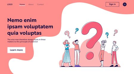 Puzzled people thinking over problem solution, searching answers. Pensive cartoon characters standing near big question mark. Vector illustration doubt, help, assistance, confusion for concept Illusztráció