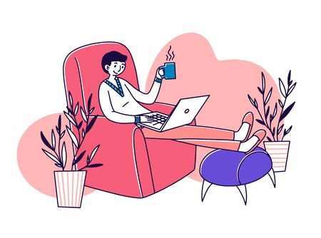 Relaxed freelance employee drinking coffee