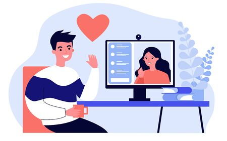 Happy people dating online flat vector illustration. Young man and woman chatting via laptop computer. Social media and communication concept.