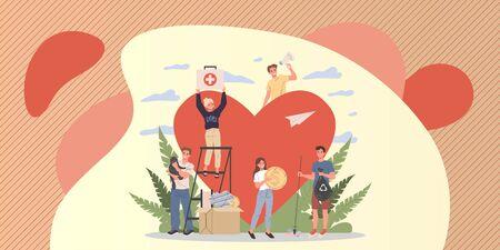 Volunteers vector illustration