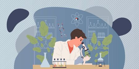 Chemist conducting experiment. Man in white coat with microscope, test tubes in lab flat vector illustration. Laboratory, chemistry, science concept for banner, website design or landing web page