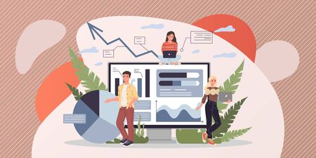 Marketing analysts developing strategy vector illustration. Office staff studying infographics on dashboard. Marketing specialist making research and analyzing business data. Ilustração