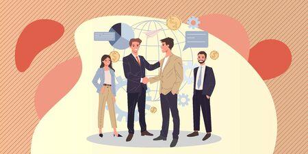 Global business partnership flat vector illustration