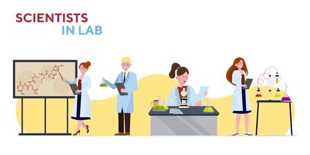 Scientists in lab set Ilustração