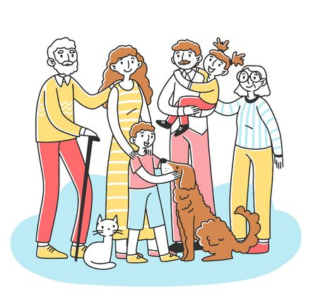 Happy big family with pets standing together flat vector illustration. Cartoon characters of mother, father, grandma, granddad, children, cat and dog. Relationship and love concept