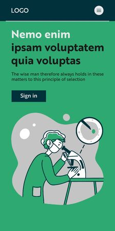 Lab worker doing research. Scientist using microscope, studying microbe or virus flat vector illustration. Laboratory, chemistry, medical test concept for banner, website design or landing web page