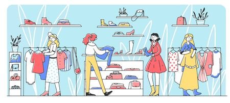 Happy female customers choosing clothes at fashion store