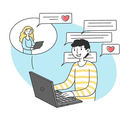 Man and woman dating online via laptop computer