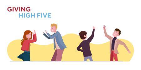 Giving high five set